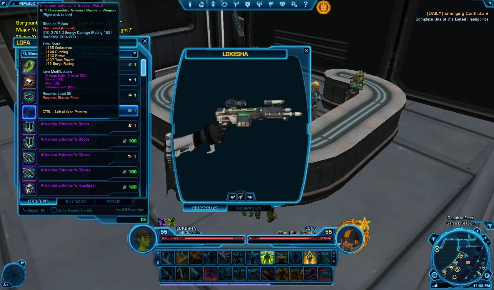swtor arkanian blaster pistol