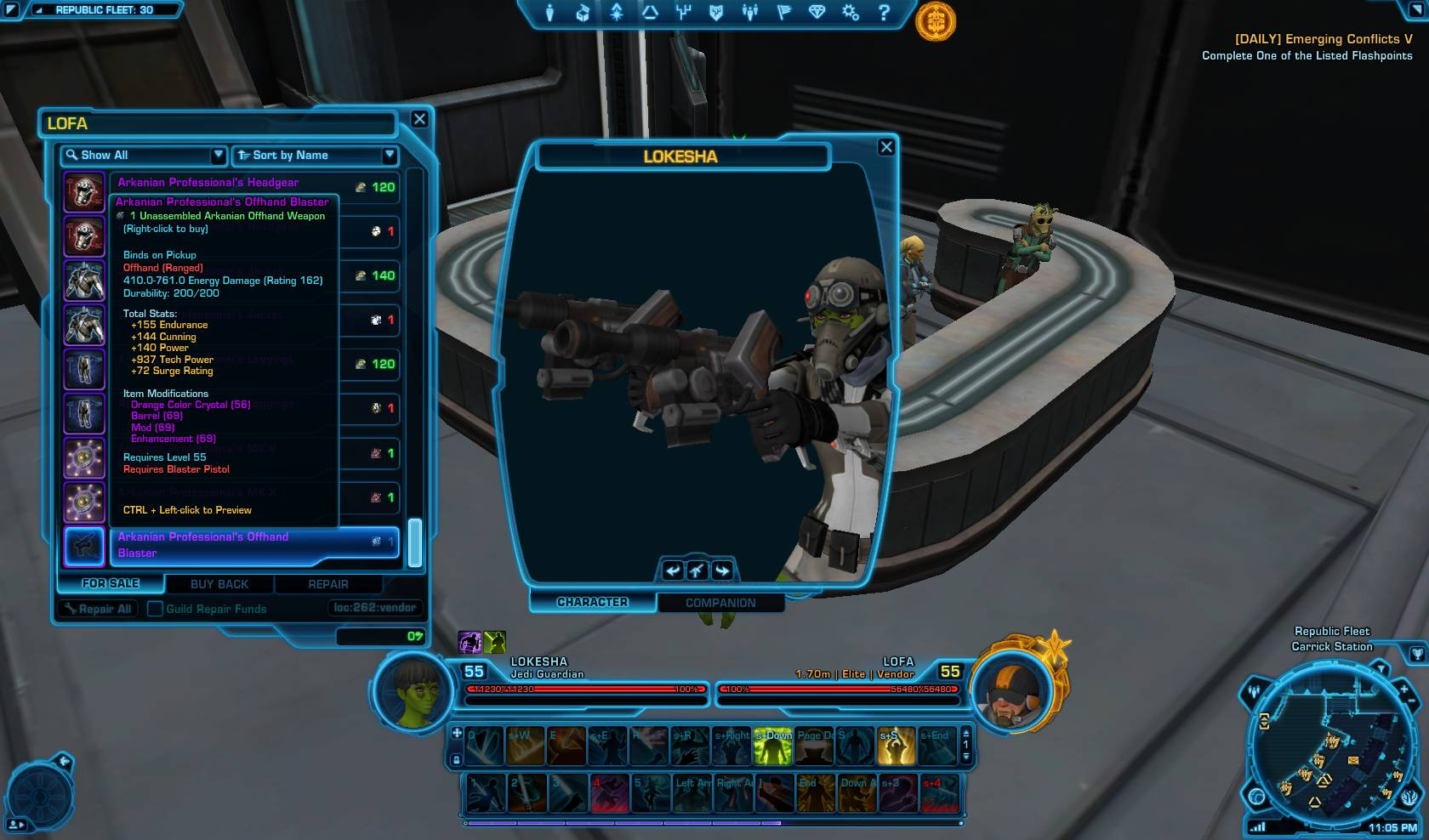 swtor arkanian professional offhand blaster