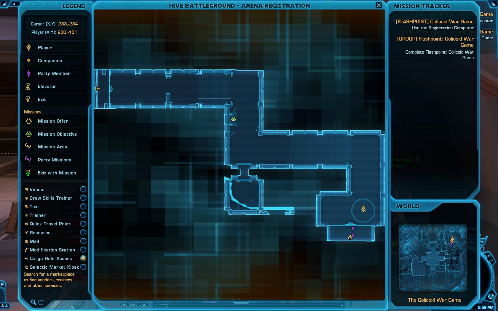 Colicoid War Games console map