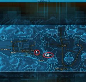 Swtor MCR-99 Droid Reconnaissance Korriban Location Map