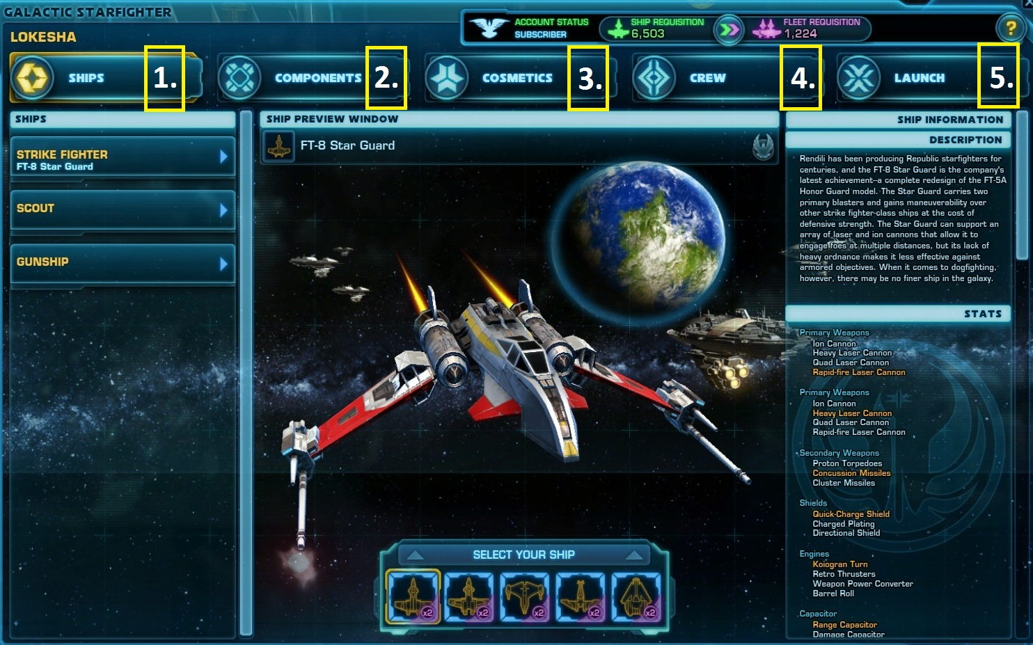 Galactic Starfighter Menu