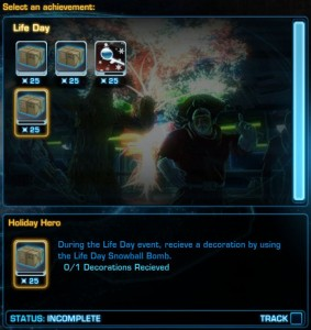 Swtor Life Day Event Achievement