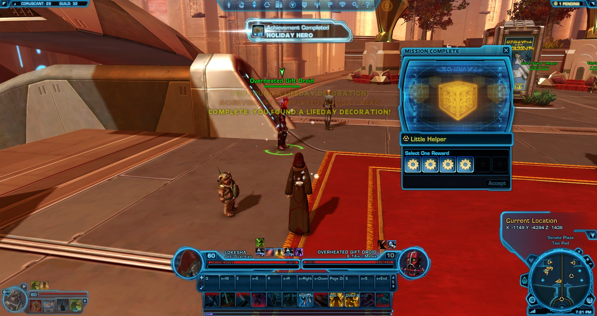 Swtor Life Day Event Coruscant Overheated Gift Droids Location